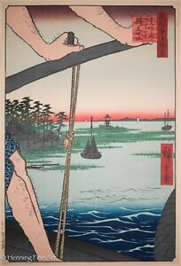 Utagawa Hiroshige Original Wood Block Haneda Ferry 100 Views Of Edo Rare