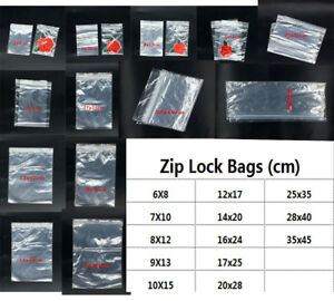 Clear Reclosable Zip Lock Plastic Ziplock Bags Poly Jewelry Zipper Baggies