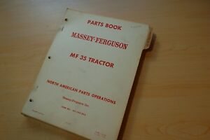 Massey Ferguson Mf 35 Farm Tractor Parts Manual Book Catalog List Spare 1968