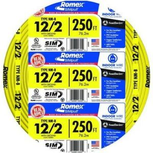 Southwire Indoor Residential Electrical Wire 250 Ft 12 2 Solid Cu Nm b W g Wire