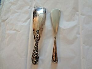 Antique Vintage Silverplate Repousse Sterling Silver Shoe Horn Lot