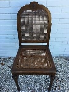 Vintage French Provincial Pecan Finish Wicker Back Arm Chair 38h X 18w X 16d