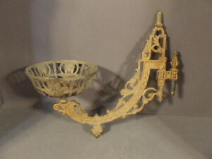 Antique Candle Oil Lamp Holder Swing Arm Metal Wall Sconce Marked Pat June 1883