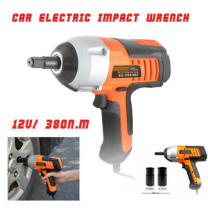 12v Electric 1 2 Connector Impact Wrench Heavy Duty Tire Change Emergency 380n M