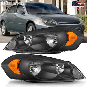 For 2006 2016 Chevy Impala Black Housing Amber Corner Bumper Headlights Lh rh Us