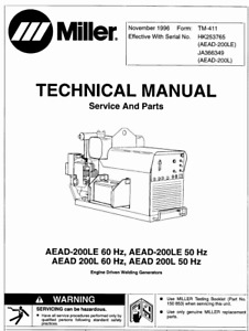 Miller Aead 200le Technical Manual Eff W Jhk253765