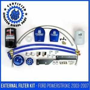 03 07 Ford Sinister Diesel External Oil Filter System With Coolant Filter