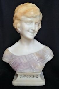 13 5 Italian 1920 S Marble Alabaster Bust Garconne Giuseppe Bessi Signed
