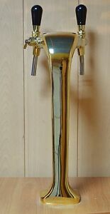 New Beer Tap Faucet Draft Double Lines Gold Tower Kegerator