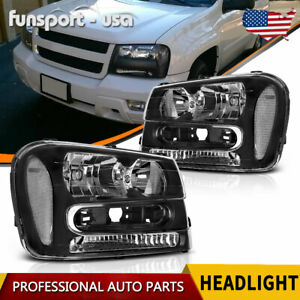 For 02 09 Chevy Trailblazer Headlights Headlamps Assembly Left Right Pair Set