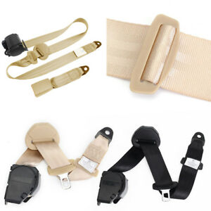 Retractable Adjustable Suv Car 3 Point Seat Belt Lap Diagonal Belt Beige Nylon