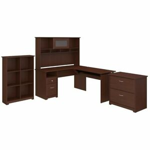 Bush Furniture Cabot 60w L Shaped Sit To Stand Desk With Hutch And Storage