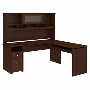 Cabot 72w 3 Position L Shaped Sit To Stand Desk With Hutch In Cherry