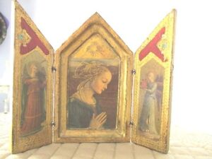 Red Gold Aqua Tole Wood Vintage Florentine Madonna Angels Pocket Triptych Icon
