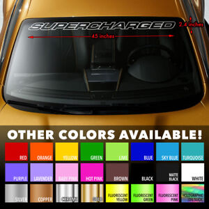 Supercharged V8 Muscle Car Premium Windshield Banner Vinyl Decal Sticker 45x2 4