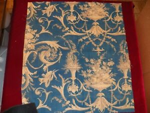 Antique French Toile Fragment Beautiful Blue And White