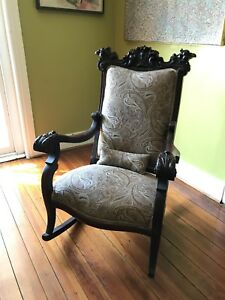 Ornate Antique Gothic Style Rocking Chair Carved Griffins And Decorative