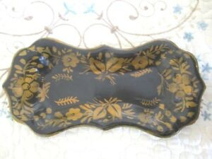 Antique Black Gold Hand Painted Wick Trimmer Candle Snuffer Trinket Tole Tray