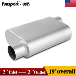 3 Inlet 3 Inch Outlet Offset 2 Chamber Performance Racing Welded Muffler Oval