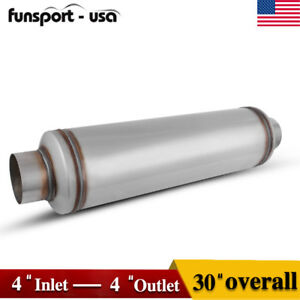 4 Inlet outlet Overall Performance Diesel Muffler Exhaust Resonator 30 Inch