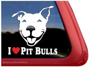 I Love Pit Bulls High Quality Vinyl Pitbull Dog Window Decal Sticker