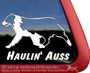 Haulin Auss Australian Shepherd Vinyl Dog Window Decal Sticker