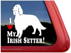 I Love My Irish Setter High Quality Vinyl Dog Window Decal Sticker