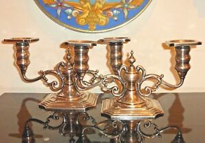 Redlich Co Sterling Silver 2215 Pair Of 2 Arm Candlelabras Candlesticks