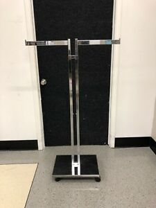 Used Commercial Chrome Clothing Rack 2 Way 2 Straight Arms Clothes Adjustable