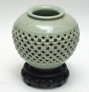 Antique 19c Korean Reticulated Celadon Porcelain Vase With Stand