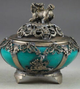 Old Chinese Characteristics Jade Old Retro Hand Carved Kylin Incense Burner