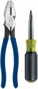 Klein Screwdriver Pliers Cushion Grip Handle Electricians Tool Set 2 Piece New