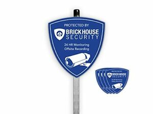 Brickhouse Security Blue Shield Video Home Surveillance Yard Sign W Stake