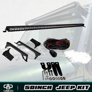 For Jeep Wrangler Jk 50 52 Slim Led Light Bar Combo Mounting Brackets Roof