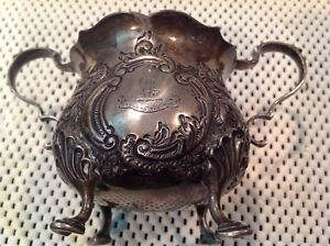 Antique Sterling Silver Sugar Bowl Goldsmiths Silversmiths True To The End