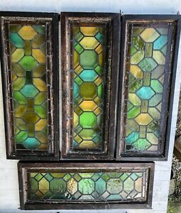 Antique Victorian Stained Glass Windows Lot Of 4 2 Sets Of 2 14 X 36