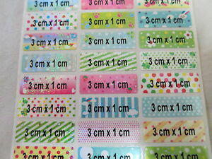 2000 Colorful Glossy 3 X 1 Cm Personalized Waterproof Name Stickers Labels Tags