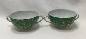 Pair Chinese Export Famille Verte Cabbage Leaf Butterfly Cream Soup Bowls 1742