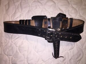 Vintage Strong 38 K Brand Leather Police Belt With Holder Baton Attachments Gun