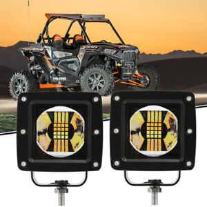 3 inch Dual Color Amber white Led Work Light Bar Driving Offroad Strobe Suv 4wd