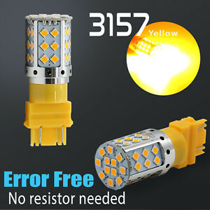 3157 Led Error Free Canbus Rear Turn Signal Parking Light Bulbs Amber Yellow