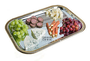 Silver Gold Trim Metal Catering Serving Breakfast Food Bar Tv Tray Rectangular