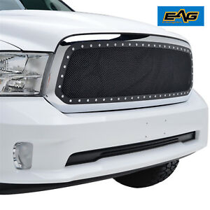 Fits 13 18 Dodge Ram 1500 Grille Rivet Overlay Black Stainless Steel Wire Mesh