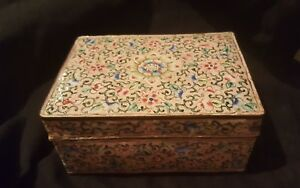 Antique 18th Century Chinese Cloisonne Box Floral With Pink Ground Famille Rose