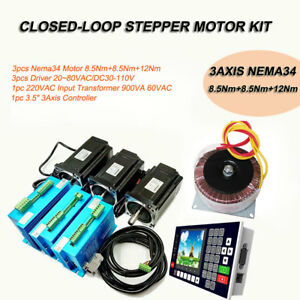 3axis 3nm 12nm Closed loop Stepper Motor Nema23 34 Driver Kit supply controller