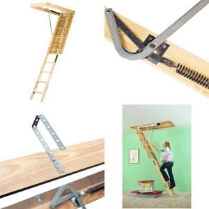 Louisville Ladder L224p 250 pound Duty Rating Wooden Attic Ladder Fits 8 foot 9