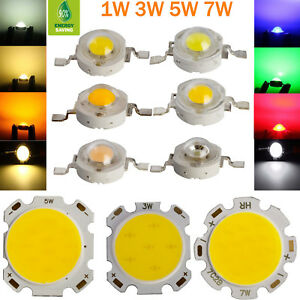 10x 50x Led Chip Beads Light 1w 3w 5w 7w Smd Cob Warm Cool White Lamp High Power