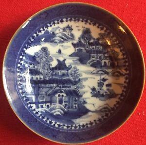 Antique 18th C Chinese Export Porcelain Saucer Plate Dish Blue