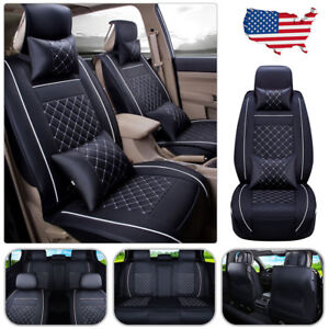 Us Car Seat Cover Pu Leather 5 Seats Front Rear 4 Pillows Cushion All Set Size M