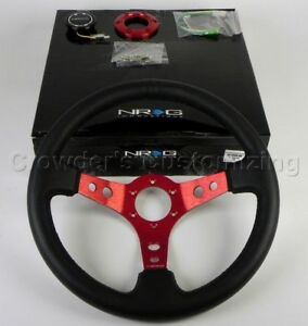 Nrg Steering Wheel 06 Black Leather Red Spoke 350 Mm